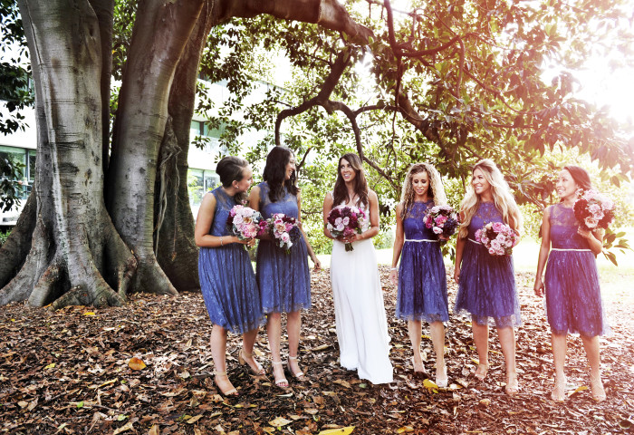jewish- bridesmaids- flowers- sunshine- garden- wedding